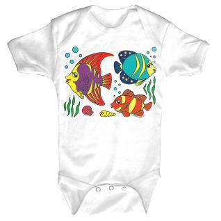 Baby-Body mit Druckmotiv Fische in 4 Farben und 4 Größen B12779 weiß / 0-6 Monate