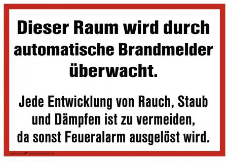 Aufkleber - Überwachung Brandmelder... - 308513/1 - Gr. ca. 29, 5 x 19, 5 cm