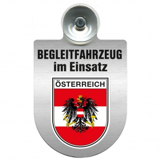 Einsatzschild Windschutzscheibe incl. Saugnapf - Begleitfahrzeug im Einsatz - 309457 - Region Österreich