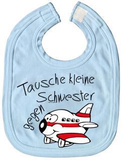Baby-Lätzchen mit Druckmotiv - Tausche kleine Schwester.. - 07041 - hellblau