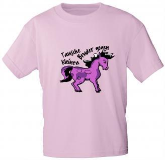Kinder T-Shirt mit Aufdruck - Tausche kleinen Bruder gegen Pony - 06917 - rosa - Gr. 134/146