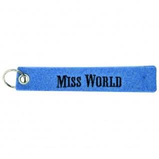 Filz-Schlüsselanhänger mit Stick Miss World Gr. ca. 17x3cm 14208 blau