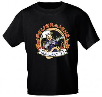 Kinder T-Shirt mit Print - Feuerwehr Anwärter - 06909 versch. Farben zur Wahl - Gr. 86 - 164 schwarz / 134/146