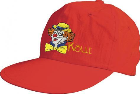 Baseballcap mit farbiger Bestickung - Clown Kölle - 52103 rot - Baumwollcap Cap Cappy Schirmmütze Hut