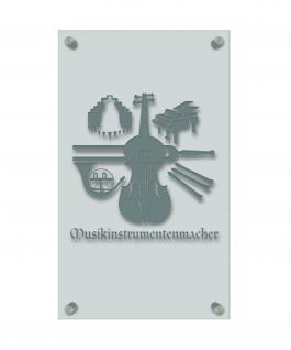 Zunft- Schild, edle Acryl-Kunststoff-Platte mit Beschriftung - Musikinstrumentenmacher- in gold, silber, schwarz oder weiß - 309404 Farbe silber