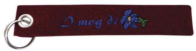 Filz-Schlüsselanhänger mit Stick I mog Di Gr. ca. 19x3cm 14002 dunkelrot