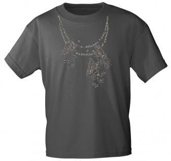 (12852) T- Shirt mit Glitzersteinen Gr. S - XXL in 13 Farben M / grau