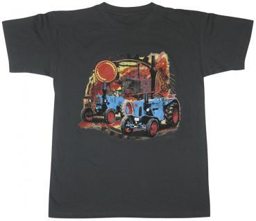 Kinder-T-Shirt mit Print - Lanz Traktor - 06898 schwarz - Gr. 152/164