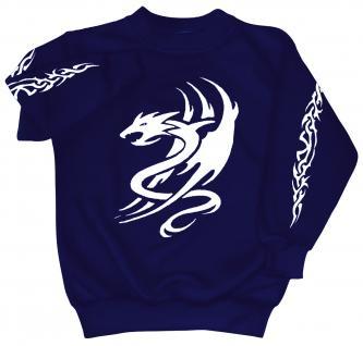 Sweatshirt mit Print - Tattoo Drache - 09036 - versch. farben zur Wahl - Gr. blau / S