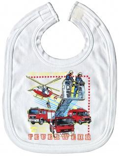 Lätzchen mit Print Feuerwehr Auto Hubschrauber 12724 weiß