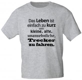 T-Shirt mit Print - Das Leben ist viel zu kurz - 10777 graumeliert - Gr. XL