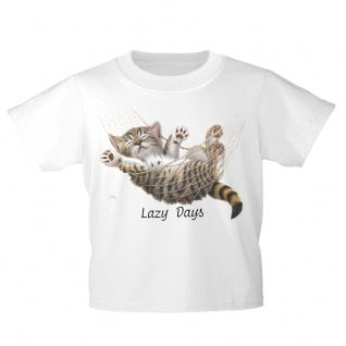 Kinder T-Shirt mit Print Cat Katze Lazy Days in Hängematte KA050/1 Gr. weiß / 152/164