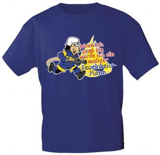Kinder T-Shirt mit Print - Wenn ich groß bin..mutiger Feuerwehrmann - 06984 - blau - Gr. 134/146