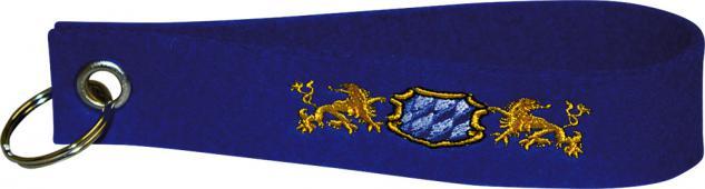 Filz-Schlüsselanhänger mit Stick BAYERN LÖWE WAPPEN Gr. ca. 17x3cm Keyholder 14448 blau