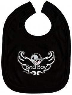 Baby-Lätzchen mit Druckmotiv - Bad Boy - 07035 - schwarz