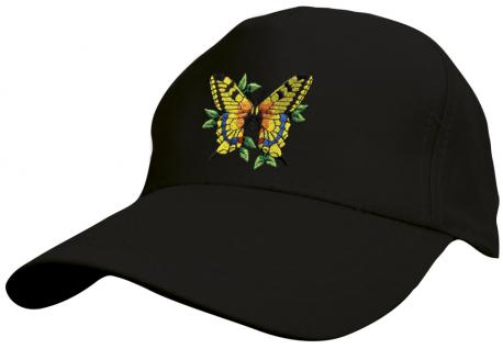 Kinder Baseballcap mit Stickmotiv - fliegender Schmetterling Butterfly - 69133 versch. Farben schwarz