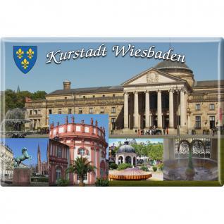 Magnet - Kurstadt Wiesbaden - Gr. ca. 8 x 5, 5 cm - 38777 - Kühlschrankmagnet Küchenmagnet