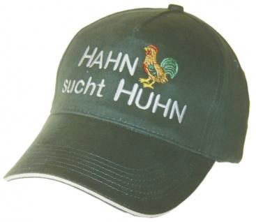 Baumwollcap mit Einstickung - Hahn sucht Huhn - 69707 grün