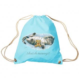 Sporttasche Turnbeutel Trend-Bag Print Cat Katze i don´t do mornings - KA070/2 hellblau