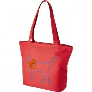 Modische Lifestyle-Tasche mit Motiv- Stickerei - Katze - 08965 - Shopper Ticiana Montabri