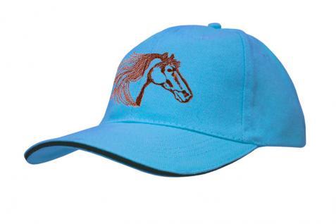 Cap mit gr. Pferde - Stick - Pferdekopf - 69245-2 türkis - Baumwollcap Baseballcap Hut Cappy Schirmmütze