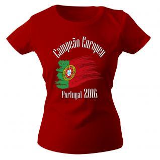 Girly-Shirt mit Print - Europameister Portugal - 12126 - rot - XS