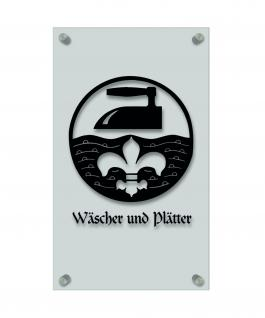Zunftschild Handwerkerschild - Wäscher und Plätter - beschriftet auf edler Acryl-Kunststoff-Platte ? 309407 schwarz