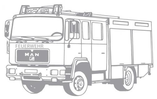 Aufkleber Wandapplikation - Feuerwehrauto Feuerwehrwagen - AP1008 silber / 90cm