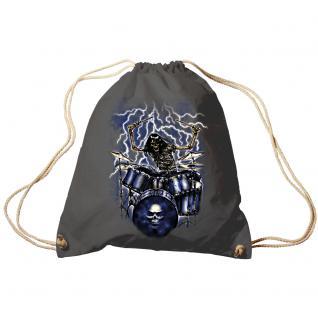 Trend-Bag Turnbeutel Sporttasche Rucksack mit Print - Ghost Drummer - TB65307 anthrazitgrau