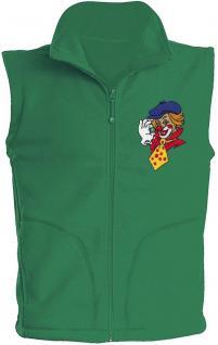 (11537) Karneval Fleece-Weste mit Brust- und Rückenstick,? Clown? NEU Gr. S- XXL in 4 Farben