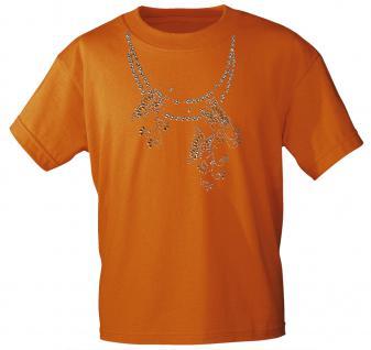 (12852) T- Shirt mit Glitzersteinen Gr. S - XXL in 13 Farben L / Orange