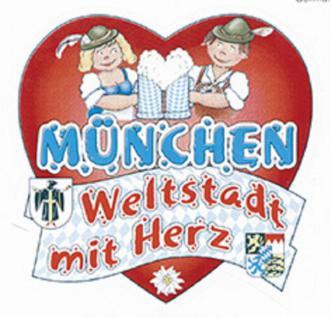 """Auto-Aufkleber Stick Applikation Emblem Aufkleber """" MÜNCHEN Weltstadt mit Herz"""" NEU Gr. ca. 6 x 7cm (301518) Wappen Landeszeichen Flagge"""