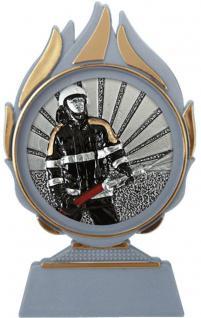 (70051) Kunstoffständer mit Feuerwehr- Emblem/ Pokal mit Feuerwehr- Emblem ca. 9 x 15cm