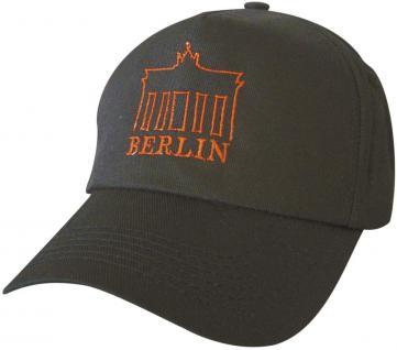 Cap - Schirmmütze mit Großstick - Brandburger Tor Berlin Deutschland - 68853 schwarz - Baumwollcap Cappy Baseballcap Hut
