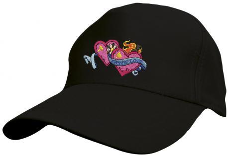 Kinder Baseballcap mit Stickmotiv - True Love Wahre Liebe Herzchen - versch. Farben 69131 schwarz