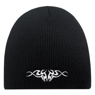 Beanie-Mütze mit Einstickung - TRIBAL TATTOO - Wollmütze Wintermütze Strickmütze - 54540 schwarz