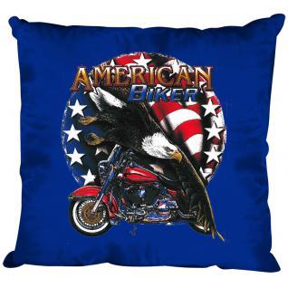 Dekokissen mit Print - American Biker Adler Motorrad Flagge - Größe ca. 40 x 40 cm K12661