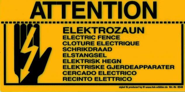 Warnschild - ELEKTROZAUN 9 Sprachen - 308548 - Gr. 20 x 10 cm - Vorschau