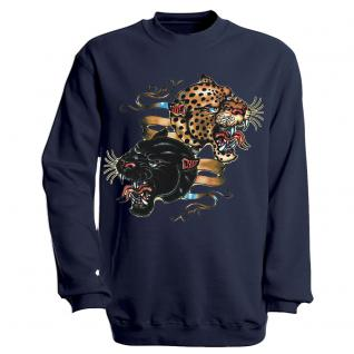"""Sweat- Shirt mit Motivdruck in 6 Farben """" Leopard"""" S12679 L / Navy"""
