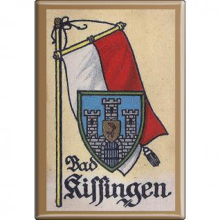 Küchenmagnet - Wappen Bad Kissingen - Gr. ca. 8 x 5, 5 cm - 37507 - Magnet Kühlschrankmagnet
