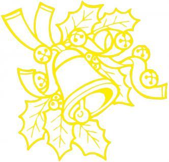 """Wandtattoo/ Dekorfolie mit Motiv """" Zweig mit Glocke"""" Ø 90cm Länge max. 100 cm, in 11 Farben WD0801 gelb"""