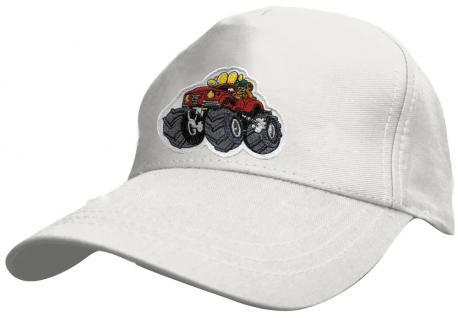 Kinder Schirm-Cap mit MonsterTruck-Stick - Monstertruck - 69127 rot blau weiss gelb schwarz - Baumwollcap Baseballcap Hut Schirmmütze Cappy