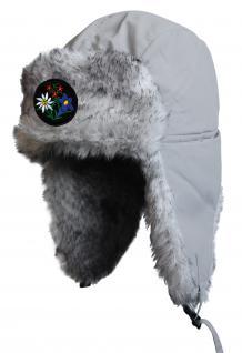 Chapka Fliegermütze Pilotenmütze Fellmütze in grau mit 28 verschiedenen Emblemen 60015 Enzian und Edelweiss