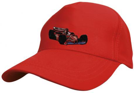 Kinder Schirm-Cap mit Rennwagen-Stick - F1 Rennwagen - 69126 rot blau weiss gelb schwarz - Baumwollcap Baseballcap Hut Schirmmütze Cappy