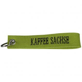 Filz-Schlüsselanhänger mit Stick Kaffee Sachse Gr. ca. 17x3cm 14391 hellgrün