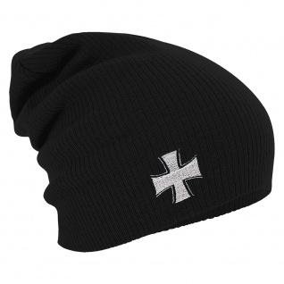 Longbeanie Slouch-Beanie Mütze Eisernes Kreuz 54559 schwarz