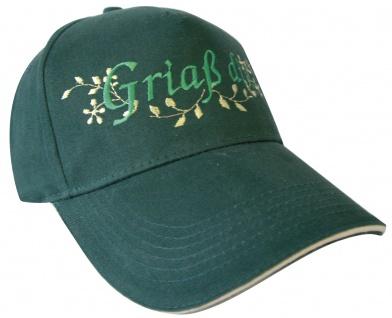 Baseballcap mit Einstickung - Griaß di - 60979 grün