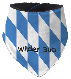 Dreieckstuch mit Einstickung - WILDER BUA - 12233 blau-weiß