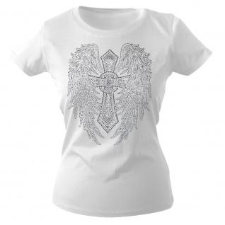 Girly-Shirt mit Strasssteinen Glitzer Kreuz Flügel Wings - G10992 weiß Gr. M