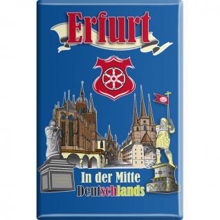 Kühlschrankmagnet - Erfurt in der Mitte Deutschlands - Gr. ca. 8 x 5, 5 cm - 38779 - Magnet Küchenmagnet
